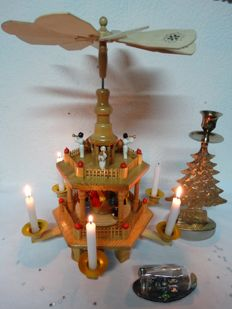 Wooden Weinachts Christmas pyramid candle holder, Nativity scene in a bottle, candle holder