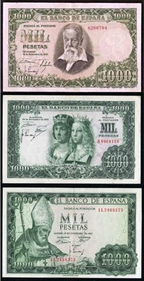 Spain - 3 x 1000 Pesetas 1951, 1957 and 1965 - Pick 143, 149 and 151