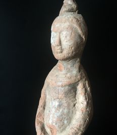 Tang Dynasty Terracotta  Figure of a female servant - 280 mm
