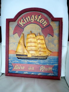 Wooden advertising board - KINGSTON - Bière au Rhum