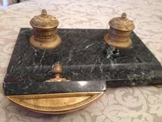 Empire inkstand in green marble and gilt bronze, France, ca 1880