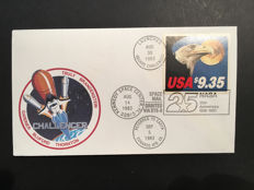First official space mail flown by Space Shuttle Challenger STS-8