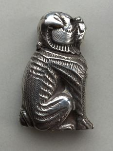 Silver vesta case in the shape of a dog, ca. 1925
