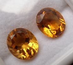 Citrine Matching Pair – 9.02 ct Total – No Reserve Price