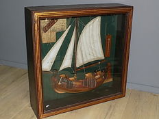 Decorative Half Boat in Display Cabinet - Diorama