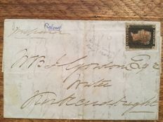 Great Britain - Stanley Gibbons 2 Penny Black on letter with 4 beatiful margins, Plate 9