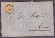 Lombardy-Venetia 1864/1865 - 15 soldi dark brown on letter from Venice to Segna (now Senj in Croatia) - Sass.  No.  46