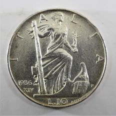 "Kingdom of Italy – ""Impero"" (""Empire"") 10 Lire from 1936 – Vittorio Emanuele III - Silver"