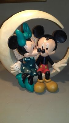 Disney, Walt - Figure - Minnie and Mickey as couple sitting on the moon (c. 1970/1980)