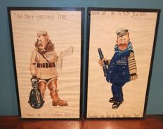 Two WW I Cartoon Watercolours - England 1918