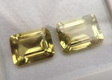 Lemon Quartzes Matching Pair – 22.65 ct total – No Reserve Price
