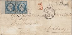 France 1850 – 25c blue pair on sheet edge on Sardis obliteration letter signed Brun – Yvert no. 10.