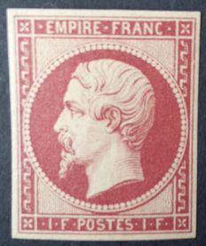 France 1853 - Napoleon III imperforated, 1 fr.  Carmin, reprint, signed Jacquart - Yvert no. 18d