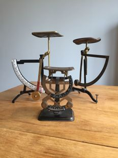 3 beautiful, antique letter scales, set of scales