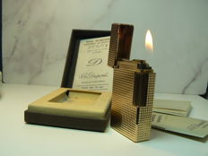 Dupont lighter, gold plated 20µ, line points diamant (large model)