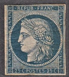 France 1850 - 25c dark blue signed Calves - Yvert no 4a