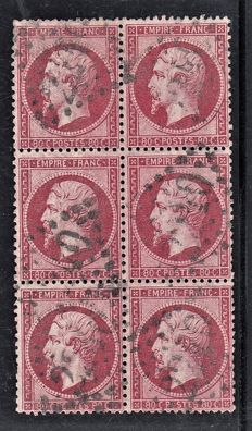 France 1860 - 80c pink in block of 6 - Yvert no 24
