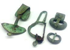 Ancient Roman bronze buckles and fibulae 16, 34, 59, 70 mm