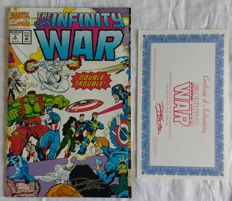 Infinity War Ron Lim Signed Issue # 4 Comic with COA 1992 NM/M Marvel Comics