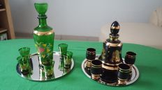 2 Beautiful glass gold-plated liqueur sets