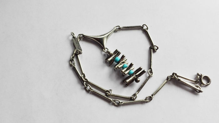 Vintage necklace (1960s) in 925 silver with turquoise - Designed by O  P   Orlandini for UNOAERRE (made in Italy) - Catawiki