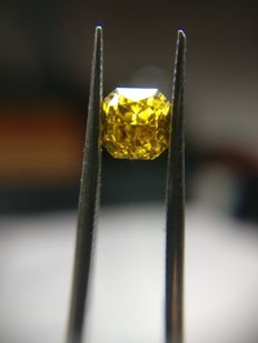 0.51 ct Fancy Deep Brownish Yellow SI1 Diamond Cushion Cut