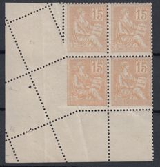 France 1900 - 15c orange with oblique perforation signed Calves - Yvert no 117