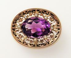 Art Nouveau 585 (14 kt) rose gold brooch with nautral amethyst approx. 11.13 ct & 8 real seedbeads