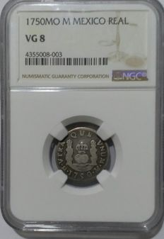 Mexico - Real 1750MO (M) in NGC Slab - silver