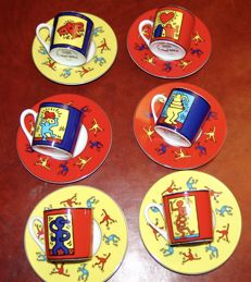 Konitz, Keith Haring, 6-piece cup and saucer series no. 6, porcelain.