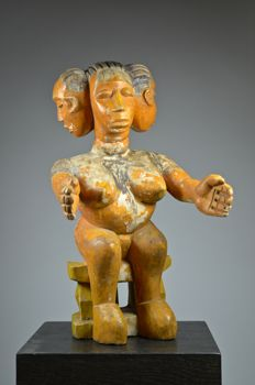 Rare figure with multiple heads - EWE / AKAN - Ghana