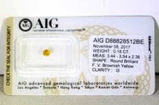 AIG Diamant - 0.18 ct - Fancy Vivid Brownish Yellow  -  * NO RESERVE PRICE *