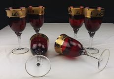 Set of six golden ruby red goblets, 24% pure crystal
