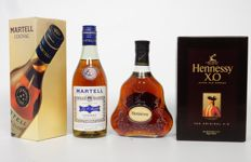 "Martell cognac three star ""4 crus"" blend OCB 1970s half bottle plus Hennessy XO OCB half bottle latest version"