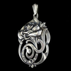 Antique silver pendant by A. Meijer, Schoonhoven, including jewellery box - 1st half 20th century