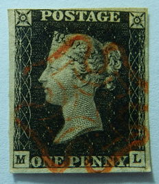 Great Britain  - Penny Black, Stanley Gibbons 1, Plate 3
