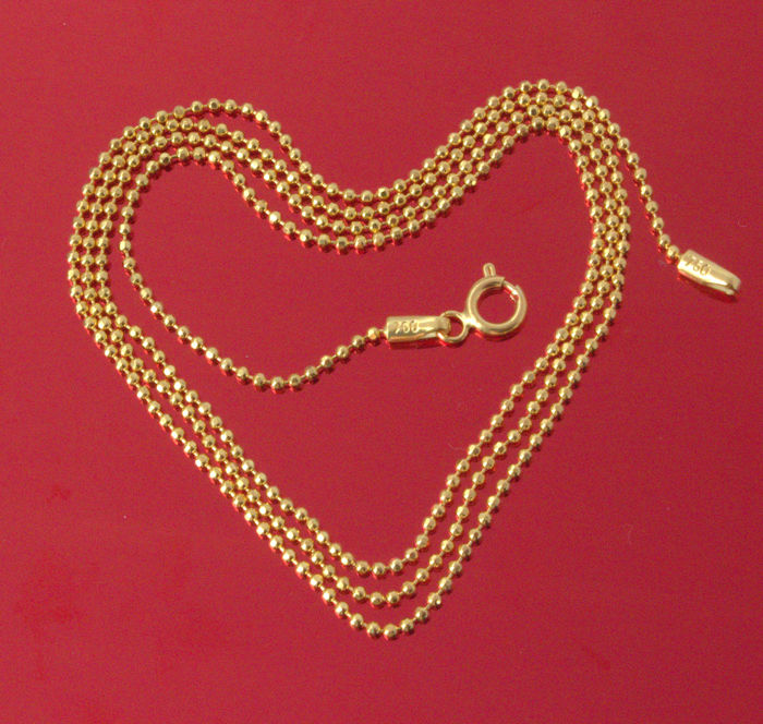 18k Yellow Gold Necklace - Bead- Modern Style- 55 cm - 3.59 gr /// No reserve price///