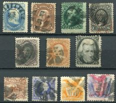USA 1861/66  - Selection classics with grill variations - Yvert 18, 21, 22, 23, 24, 25, 27, 30, 32, 33, 37