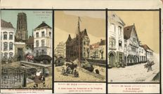 Illustrator ALFRED OST 8 x-proofs of 3 cards that are still attached to one another-RARE LOT period: c. 1913