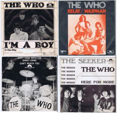 THE WHO: lot of 4 45's with Picture Sleeve: 1. Relay (1973), 2. The Seeker (1970), 3. Mary Anne With The Shaky Hand (1968), 4. I'm A Boy (1966)