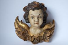 Carved wooden cherub's/angel's head from Austria / Italy - 26 cm