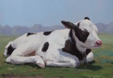 Jan Engel (20th century) - Calf in the sun