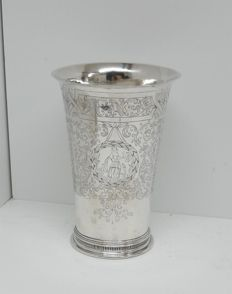 Antique silver communion cup, engraved: Faith Hope and Love, Netherlands, circa 2nd half 19th century