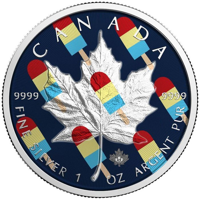 Canada - 5 Dollar 2017 'Maple Leaf - Ice-cream' with color - 1 Oz - Silver