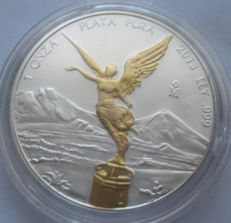 Mexico - Onza 2013 'Libertad' partly gold plated - 1 oz silver