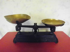 Beautiful big grocery scale with brass scales