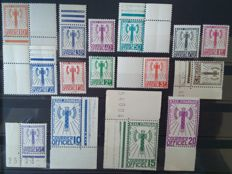 France 1943 - Service, complete Francisque Series, stamps signed Calves with digital certificate - Yvert service no. 1 to 15
