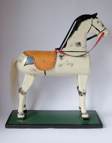 A wooden toy horse