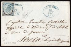Italy, Kingdom, 1865 - 20¢ on 15¢ 1st type on letter with Tuna di Rivalta cancellation - Sassone  no.  23