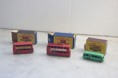 Moko Lesney Matchbox - Various scales - London Bus No.5a, Bedford Coach `London to Glasgow` No.21a and London Trolleybus No.56a